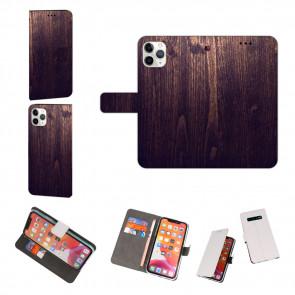iPhone 11 Pro Max Handy Hülle mit Fotodruck HolzOptik Dunkelbraun