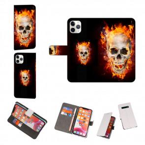 iPhone 11 Pro Max Handy Hülle mit Fotodruck Totenschädel Feuer