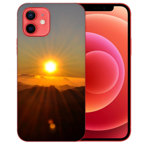 iPhone 12 Silikon TPU Case Handyhülle mit Bilddruck Sonnenaufgang Etui