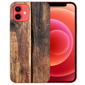 Silikon TPU Case Handyhülle mit Bilddruck HolzOptik für iPhone 12