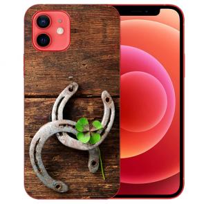 Silikon TPU Case Handyhülle für iPhone 12 mit Bilddruck Holz hufeisen