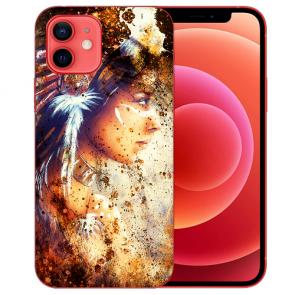 iPhone 12 Silikon TPU Case Handyhülle mit Indianerin Porträt Bilddruck
