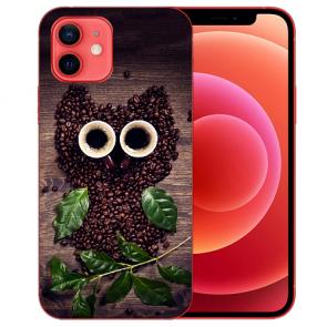 Silikon TPU Case Handyhülle für iPhone 12 mit Bilddruck Kaffee Eule Etui