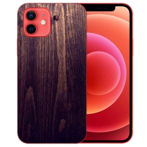 iPhone 12 Silikon TPU Handyhülle mit Bilddruck HolzOptik Dunkelbraun