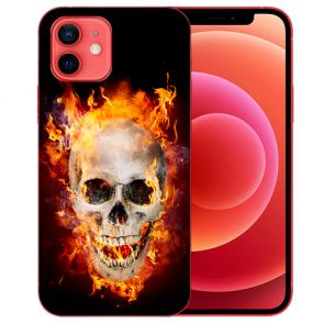 iPhone 12 Silikon TPU Case Handyhülle mit Bilddruck Totenschädel Feuer
