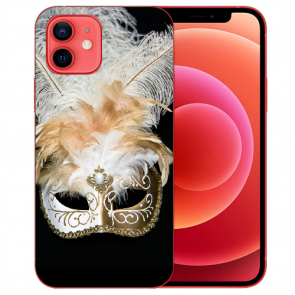 iPhone 12 Silikon TPU Case Handyhülle mit Venedig Maske Bilddruck