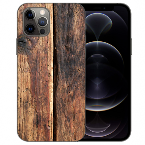 iPhone 12 Pro Max Handy Hülle Tasche mit Bilddruck HolzOptik