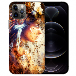 iPhone 12 Pro Max Handy Hülle Tasche mit Bilddruck Indianerin Porträt