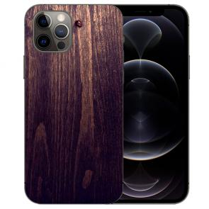iPhone 12 Pro Max Handy Hülle Tasche mit Bilddruck HolzOptik Dunkelbraun