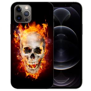 iPhone 12 Pro Handy Hülle Tasche mit Bilddruck Totenschädel Feuer