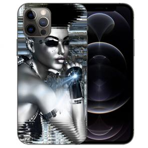 iPhone 12 Pro Max Handy Hülle Tasche mit Bilddruck Robot Girl