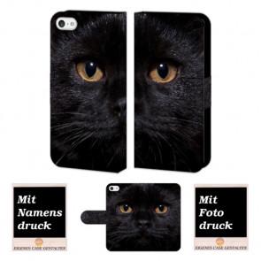 iPhone 5 / 5S / SE Schwarz Katze Handy Tasche Hülle Foto Bild Druck