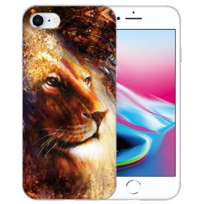 Silikon TPU Hülle mit LöwenKopf Porträt Bilddruck für iPhone SE (2020)