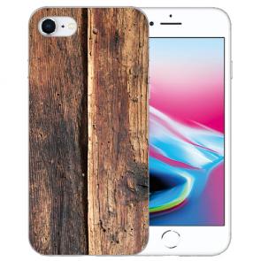 Silikon TPU Hülle mit HolzOptik Bilddruck für iPhone SE (2020) Etui