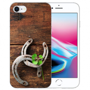 Silikon TPU Hülle für iPhone SE (2020) mit Holz hufeisen Bilddruck