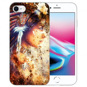 Silikon TPU Hülle für iPhone SE (2020) mit Bilddruck Indianerin Porträt