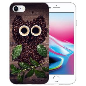 Silikon TPU Hülle für iPhone SE (2020) mit Kaffee Eule Bilddruck