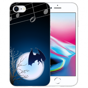 iPhone SE (2020) Silikon TPU Handy Hülle mit Bilddruck Fledermaus-mond