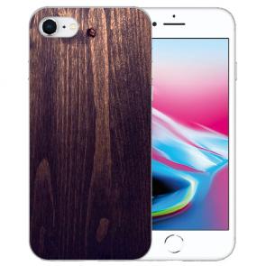iPhone SE (2020) Silikon TPU Hülle mit HolzOptik Dunkelbraun Bilddruck