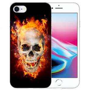 Silikon TPU Hülle für iPhone SE (2020) mit Bilddruck Totenschädel Feuer