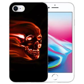 Silikon TPU Hülle für iPhone SE (2020) mit Bilddruck Totenschädel Etui