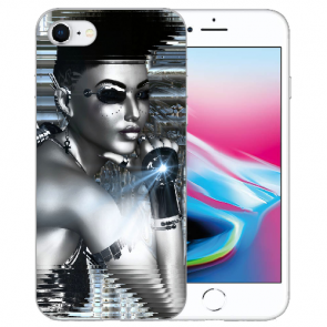 iPhone SE (2020) Silikon TPU Hülle mit Robot Girl Bilddruck Case
