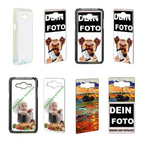 2D Hülle für Samsung galaxy J5 Hard case mit Foto und Text zum selbst gestalten.