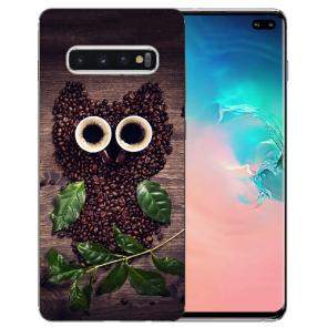 Samsung Galaxy S10 Plus Silikon TPU mit Kaffee Eule Bilddruck Etui