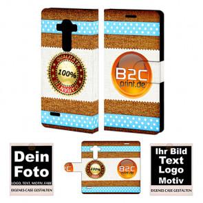 PU Leder-Tasche für LG G4S mit Foto und Text zum selbst gestalten.