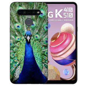 Schutzhülle Silikon TPU für LG K41s mit Pfau Bild Namendruck
