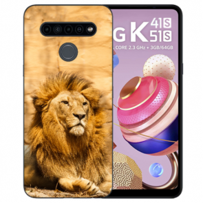 Silikon TPU Schutzhülle für LG K41s mit Löwe Bild Namendruck