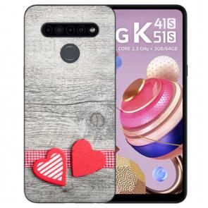 Handyhülle TPU Silikon mit Fotodruck Herzen auf Holz für LG K41s Etui