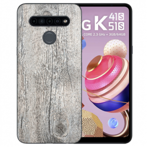 LG K41s Handyhülle TPU Silikon mit Fotodruck HolzOptik Grau