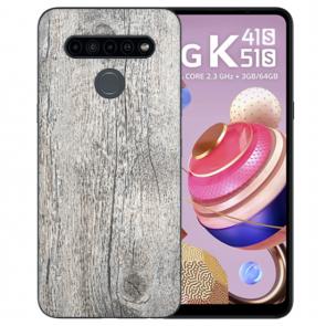 LG K51s Silikon TPU Handyhülle mit Fotodruck HolzOptik Grau