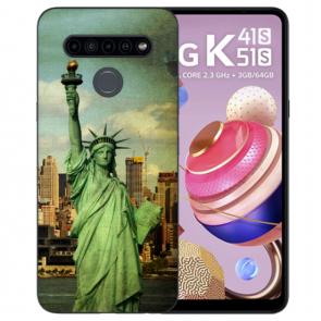LG K51s Handyhülle Silikon TPU mit Bilddruck Freiheitsstatue