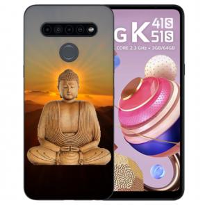 LG K51s Handyhülle Silikon TPU mit Bilddruck Frieden buddha
