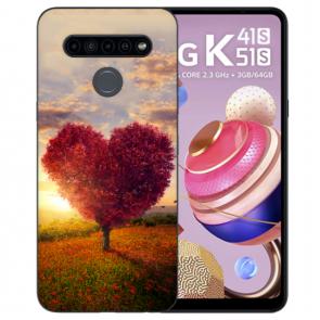 LG K51s Handyhülle Silikon TPU mit Bilddruck Herzbaum