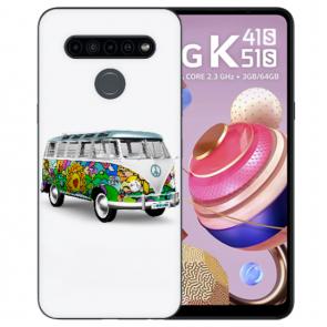 LG K51s Silikon TPU Case Handyhülle mit Fotodruck Hippie Bus