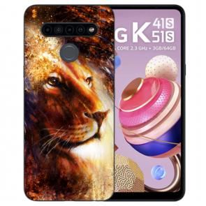 Handyhülle Silikon TPU mit Bilddruck LöwenKopf Porträt Für LG K51s