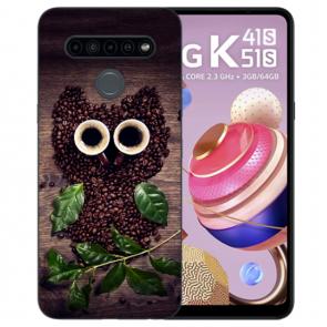 Handyhülle Silikon TPU mit Bilddruck Kaffee Eule für LG K51s