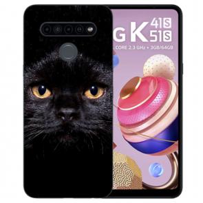 Silikon TPU Schutzhülle für LG K41s mit Schwarz Katze Bild Namendruck