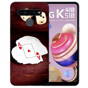 LG K51s Handyhülle Silikon TPU mit Spielkarten-Würfel Bilddruck