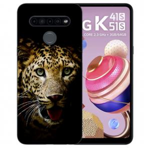 Silikon TPU Case mit Leopard Bild Namendruck Schutzhülle für LG K41s