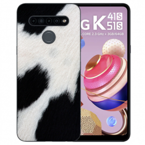 Schutzhülle Silikon TPU mit Kuhmuster Bild Namendruck für LG K51s