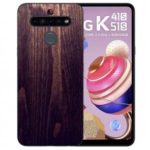 LG K41s Handyhülle TPU Silikon mit Fotodruck HolzOptik Dunkelbraun