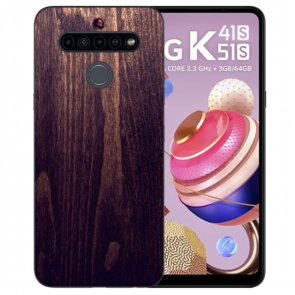LG K51s Silikon TPU Handyhülle mit Fotodruck HolzOptik Dunkelbraun