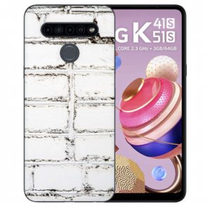 LG K41s Handyhülle TPU Silikon mit Foto Namendruck Weiße Mauer
