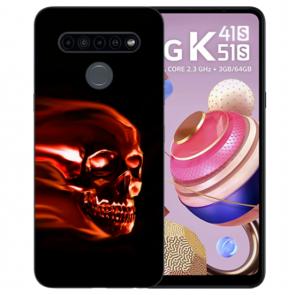 TPU Silikon Case Handyhülle für LG K41s mit Fotodruck Totenschädel