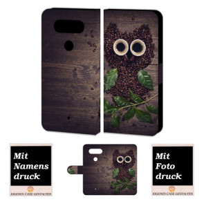 LG Q8 Smartphonehülle mit Kaffee Eule und eigenem Foto Druck selbst gestalten