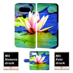 LG G5 Individuelle Handyhülle Tasche mit Lotosblumen + Bild Text Druck